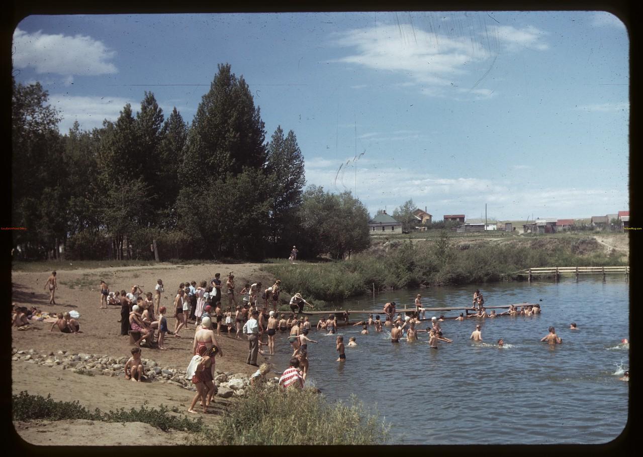 Co-op school at Swift Current swimming hole  [Elmwood Park]. Swift Current. 07/09/1949