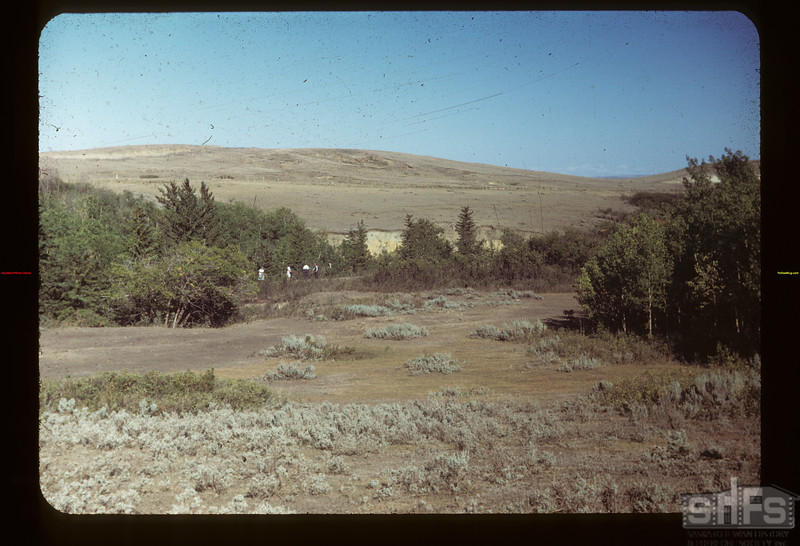 """N.W.M.P. Post here before 1878. Now called """"Chimney Coulee"""". N. of E. Eastend 08/14/1949"""