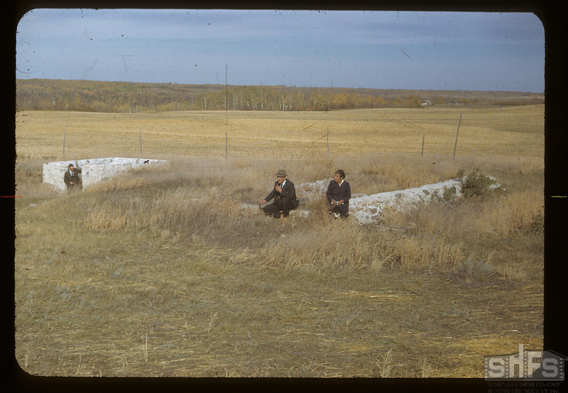 Mr & Mrs Charlie Trottier [at site of] old Batoche store.	 Batoche	 10/04/1948