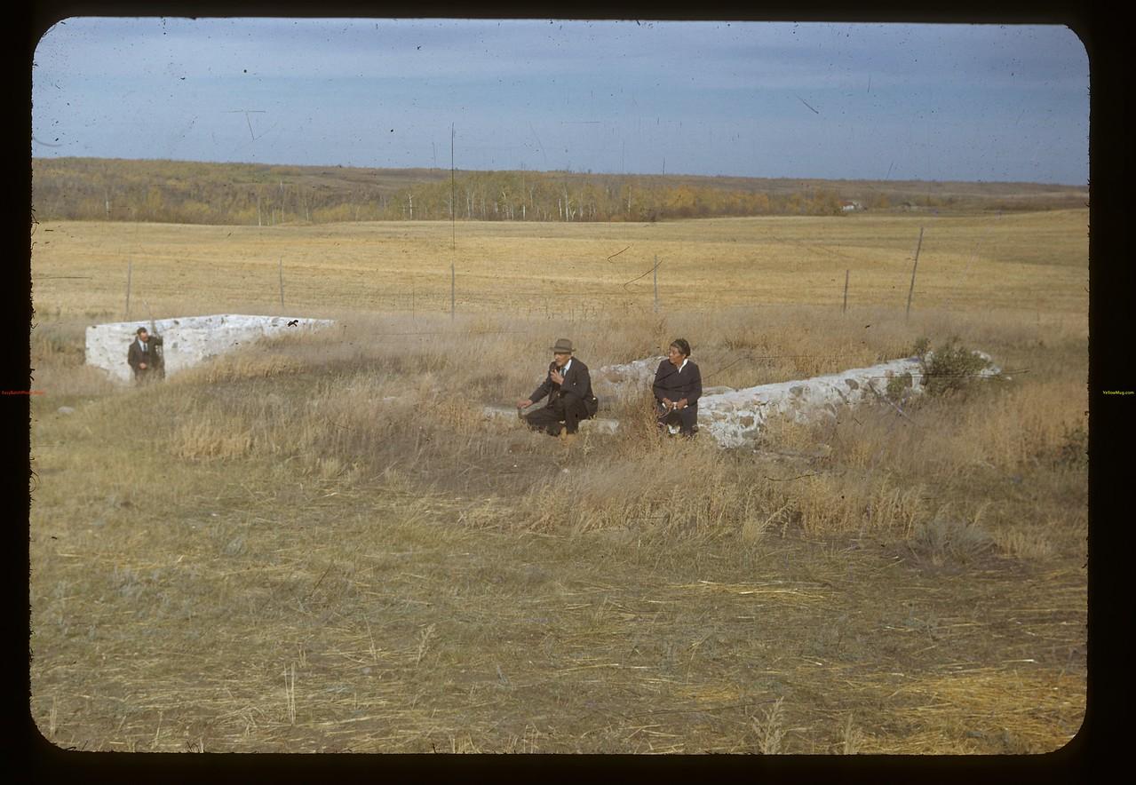 Mr & Mrs Charlie Trottier [at site of] old Batoche store. Batoche 10/04/1948