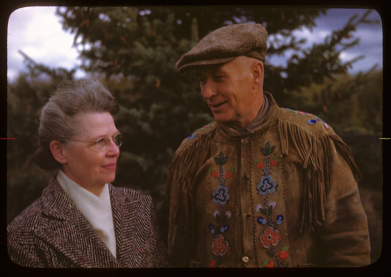 Mr. & Mrs. Alex Lockhart farming instructor - Onion Lake Indian Reserve.  Onion Lake.  10/09/1946