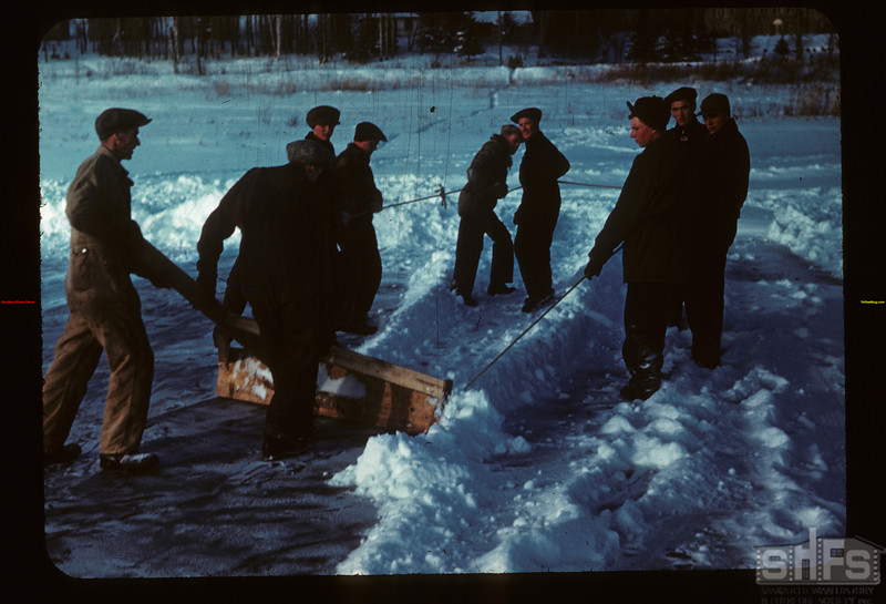 Clearing Ice for Skating Pull-Board Y-T- S. Kenosse Lake 11/25/1946