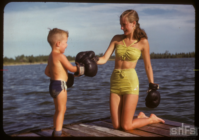 Adele Andrews and Bobby Hughes at the Regina Boat Club.  Regina.  08/03/1947