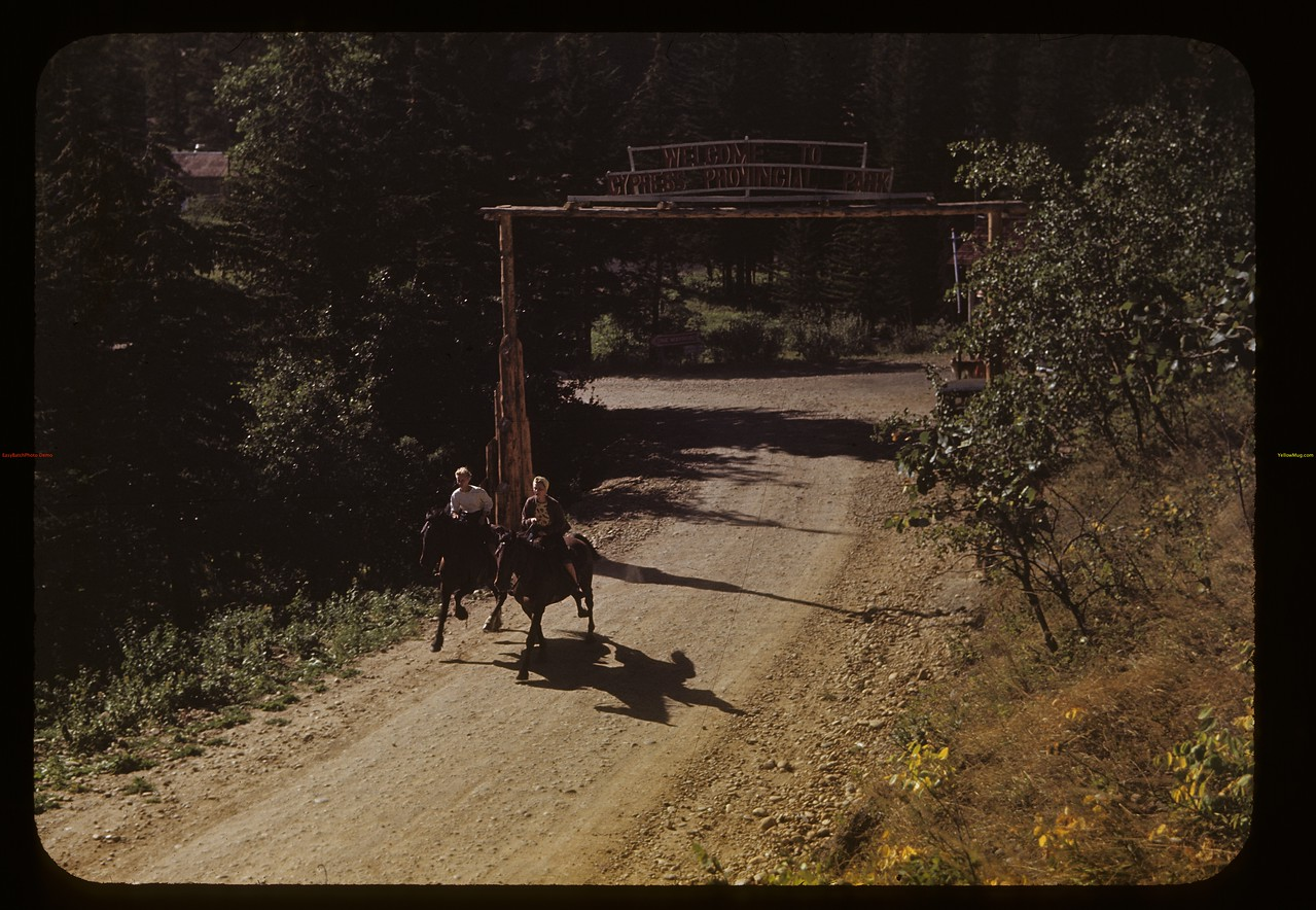 Jean and Lorrain Klaibert - horse back riding. Cypress Hills. 08/26/1948