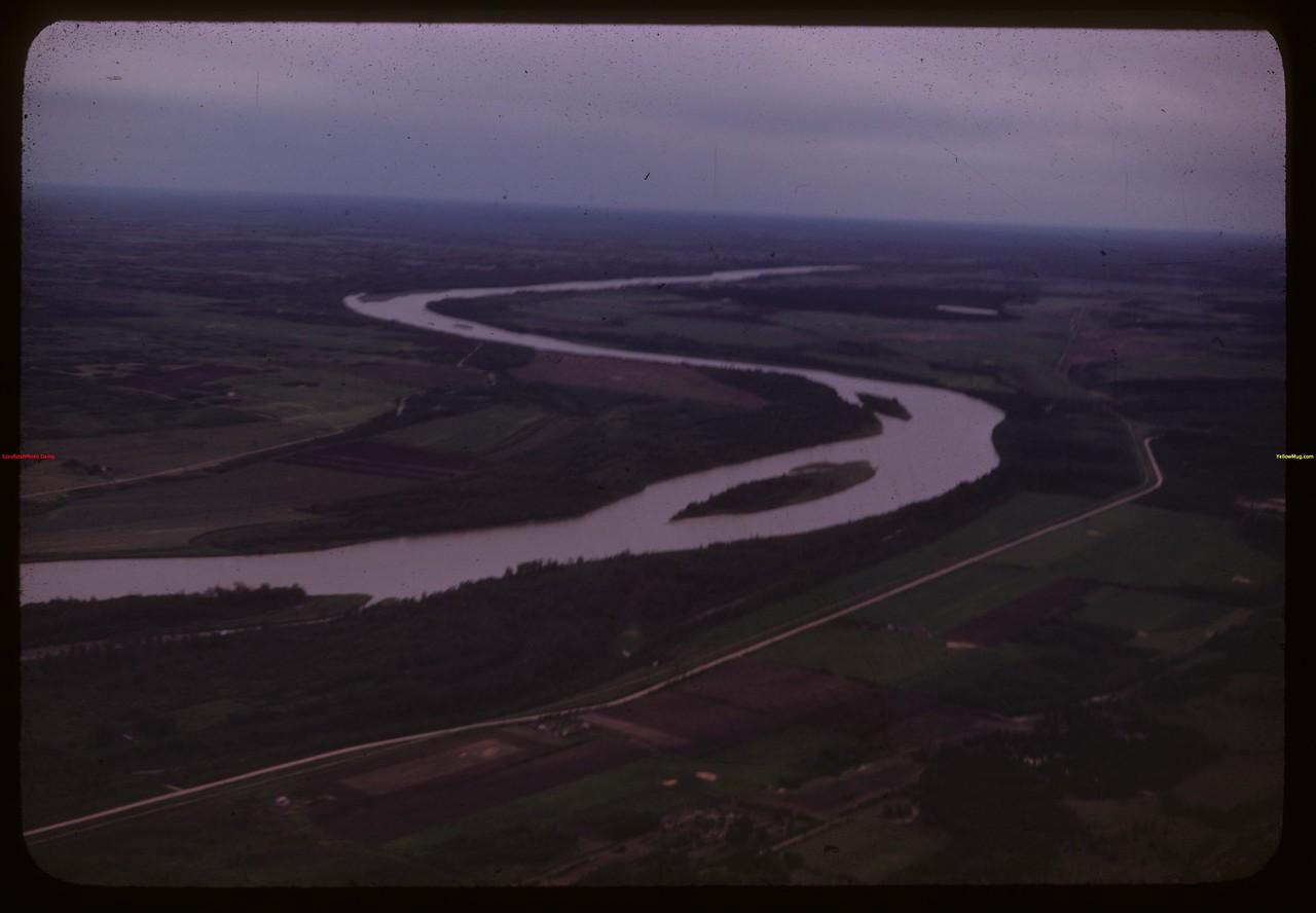Aerial view of North Saskatchewan River approaching PA..  Prince Albert.  06/22/1946