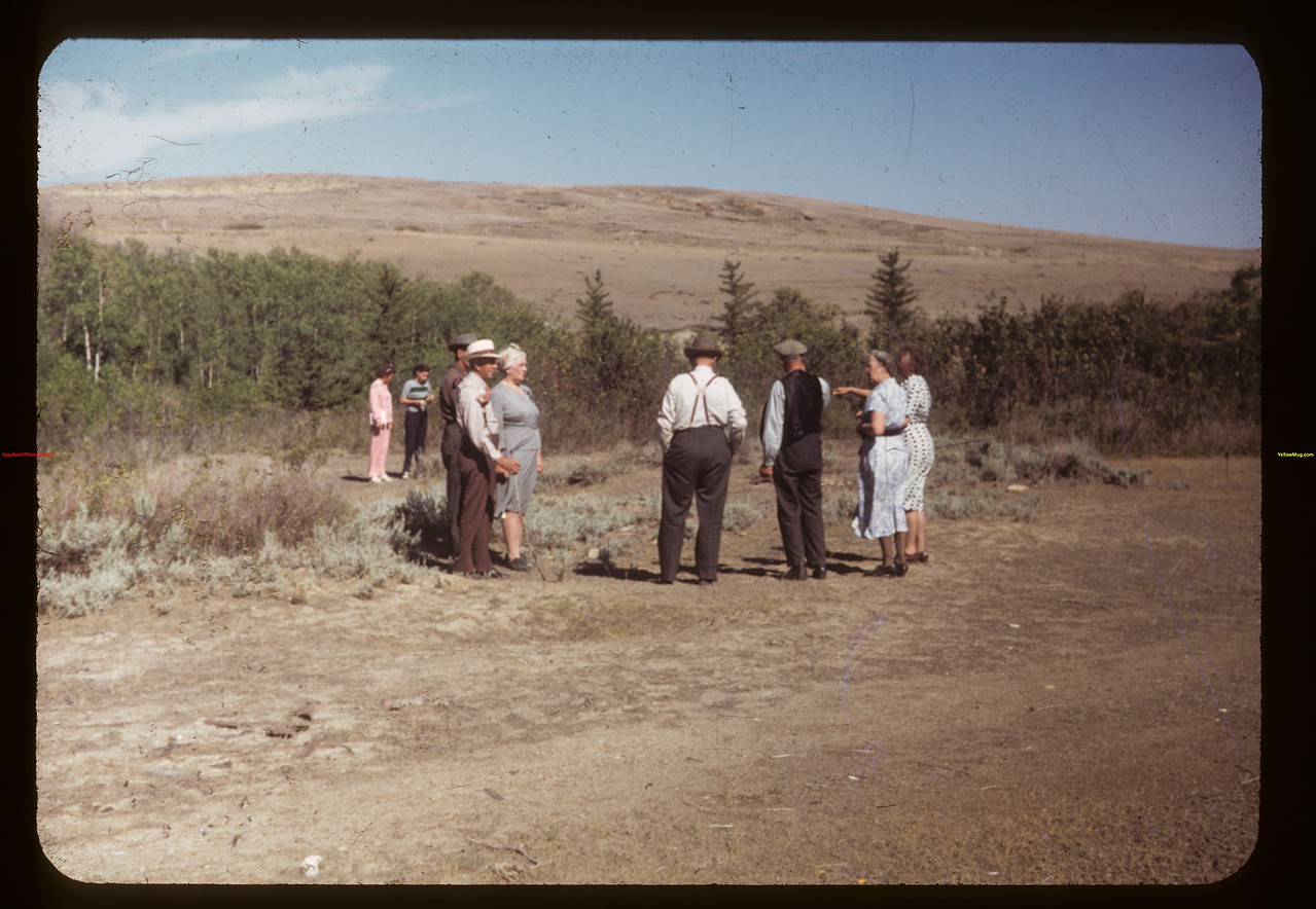 Corky Jones telling the story of Chimney Coulee. Eastend 08/13/1949