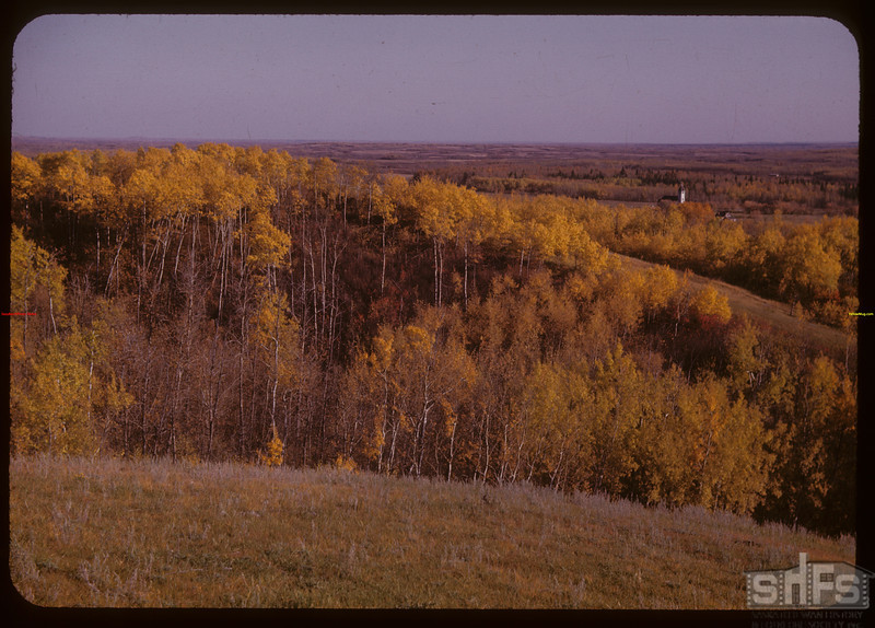 Hills over Old Onion Lake  - Frenchman Butte on left horizon.  Onion Lake.  10/01/1947