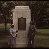 Mr & Mrs Z.M. Hamilton with plaque commemorating Sask creation as province - Victoria Park.  Regina.  08/23/1943