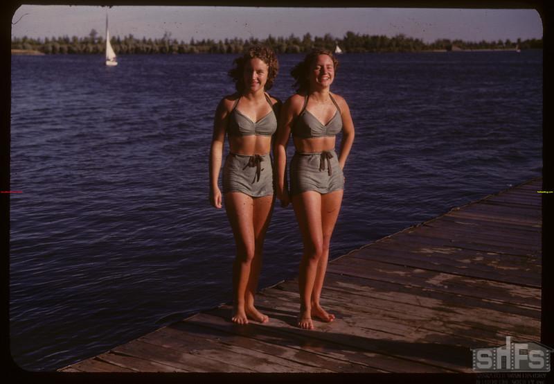 Jean Dewitt and Joan Dewitt Regina Boat Club swim meet.  Regina.  09/01/1947