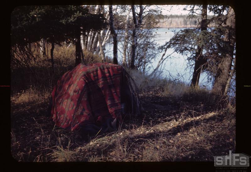 Indian steam bath N. West upper Makwa. Loon Lake.  10/11/1944