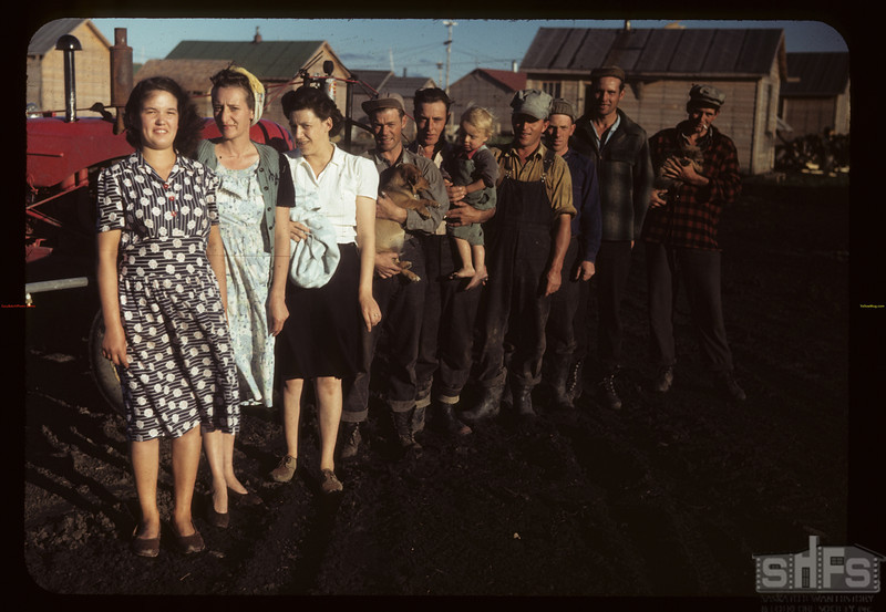 Part of one of co-op farm groups in camp. Carrot River 07/18/1949