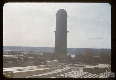 Lumber mill smoke stack. Big River. 10/03/1948