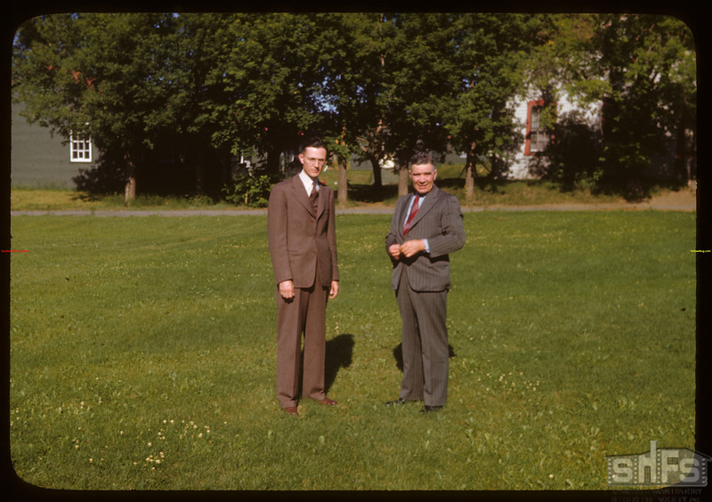 PA Mayor Jack Cullaneare and Hon. L.F. McIntosh at PA Co-op school..  Prince Albert.  07/12/1946