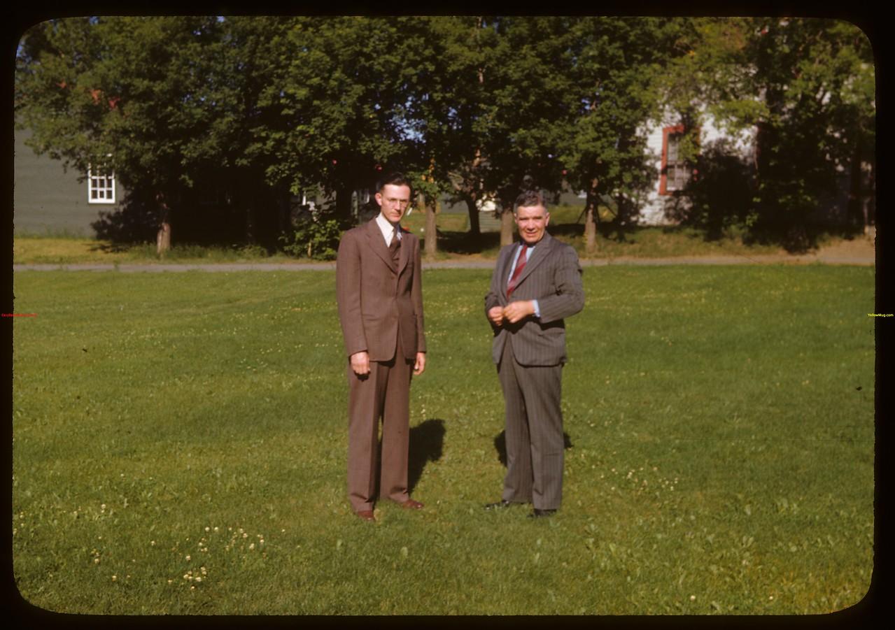 PA Mayor Jack Cullaneare and Hon. L.F. McIntosh at PA Co-op school..  Prince Albert.  07/12/1946