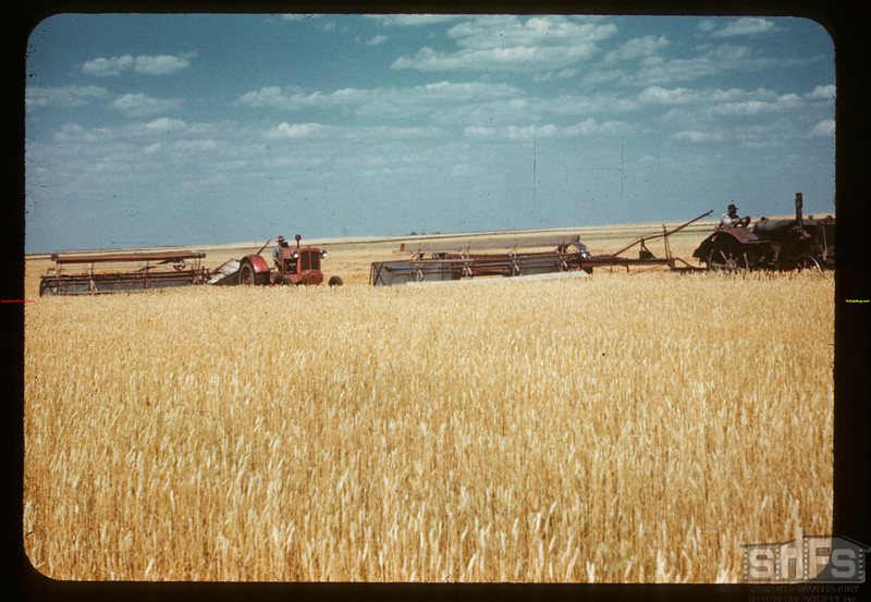 Swathing Regina plains - Carl Strayer's land.	 Drinkwater	 08/01/1945