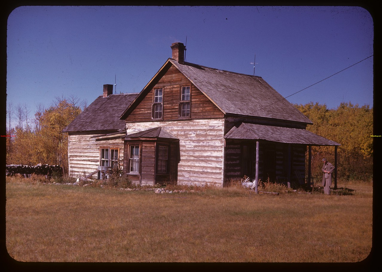 Campbell Innes at home of Mrs. Margaret Elizabeth Hall west of Onion Lake. Mrs. Hall is widow of ex NWMP..  Onion Lake.  09/28/1947