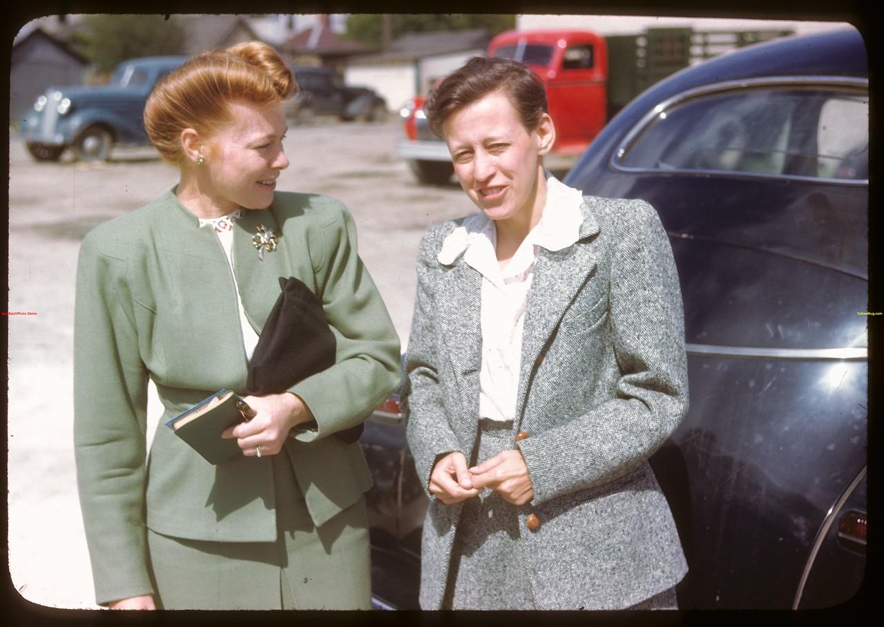 Miss. Taylor  and Mrs. Glenn Thompson - US Co-op tour..  Regina.  08/10/1946