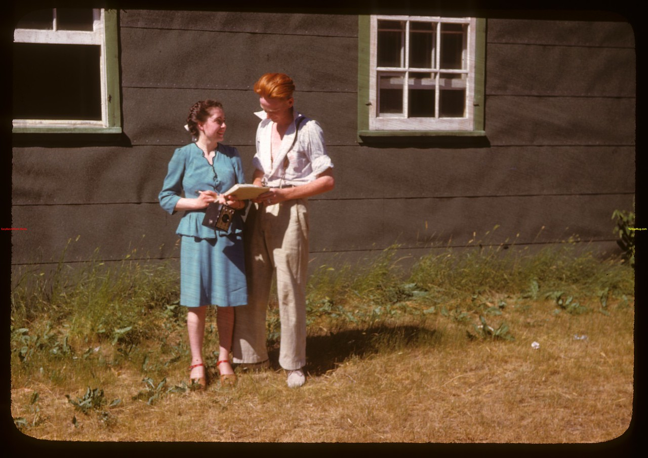 Doris Douglas - Paswegin and Tommy Bennell - recreation comm. at PA co-op school..  Prince Albert.  07/09/1947