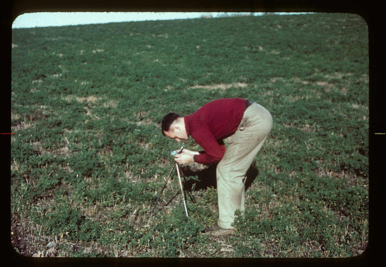 Jack Clayton reading compass (near Loon River).  09/23/1944