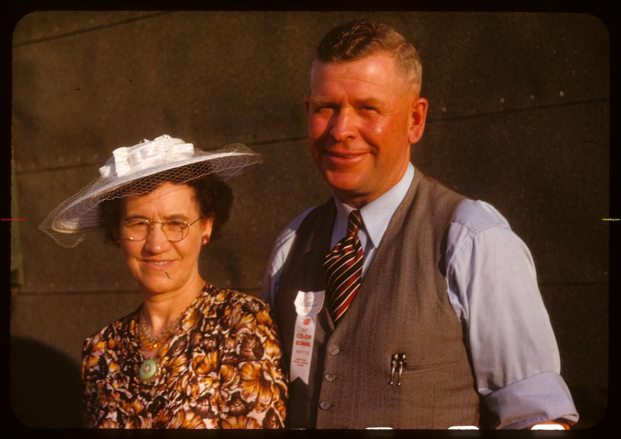 Mr. & Mrs. F.K. Fitzgerald pool agent - Sylvania at PA Co-op school..  Prince Albert.  07/09/1947