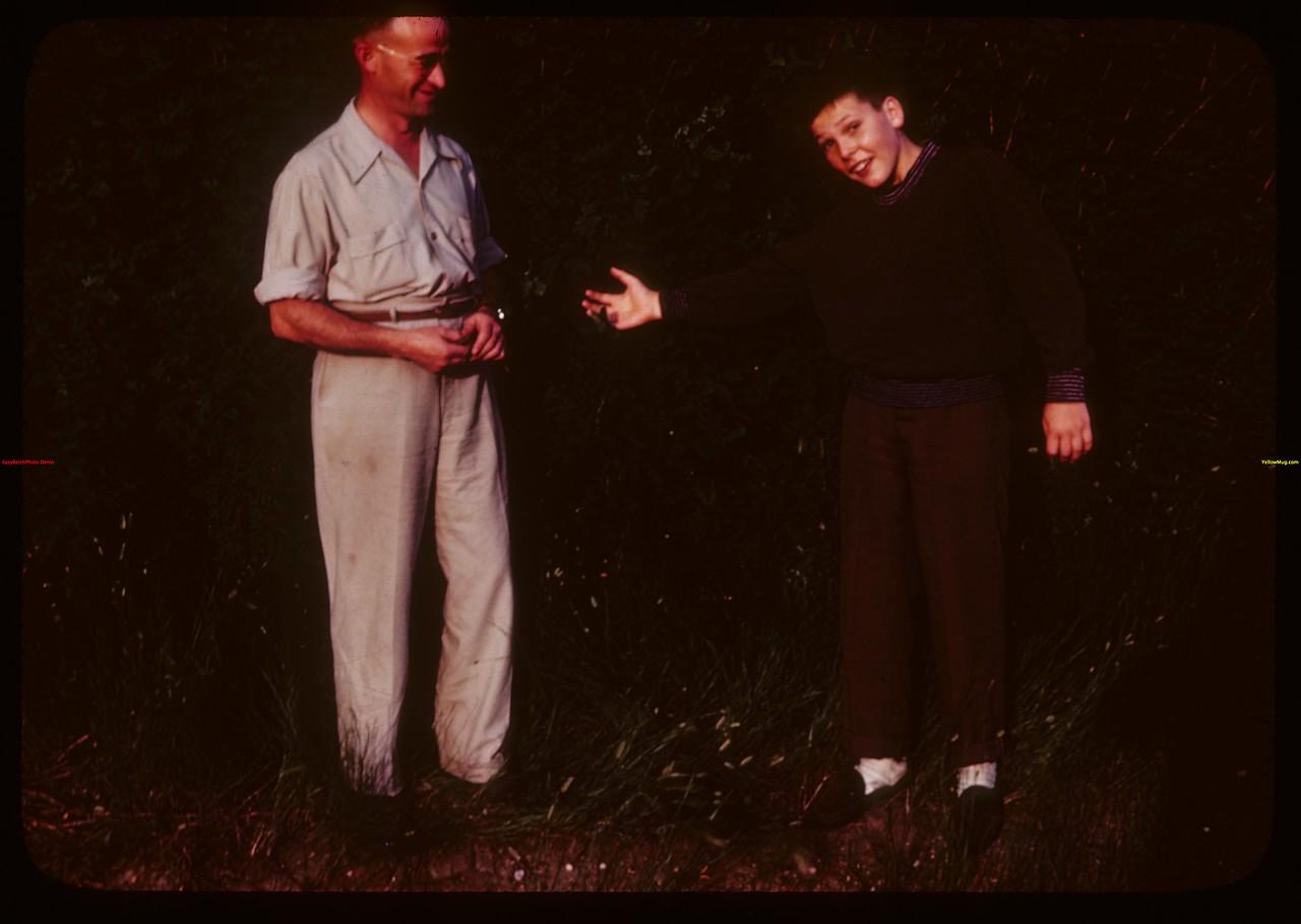 Jimmy presents Father Friesen to PA co-op school..  Prince Albert.  07/12/1946