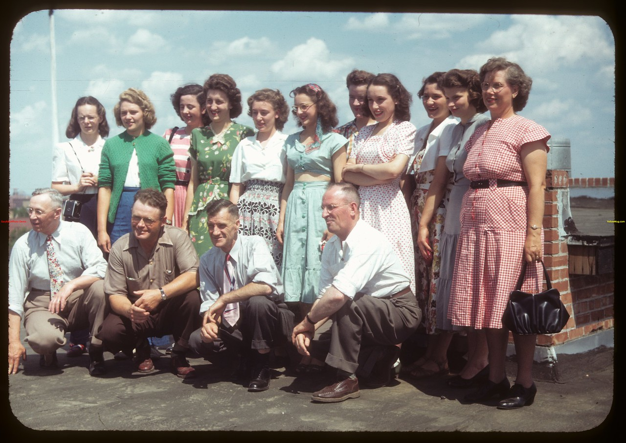 District 14 Essay winners atop Wheat Pool building accompanied by Ross & Whiting and Parker..  Regina.  07/15/1949