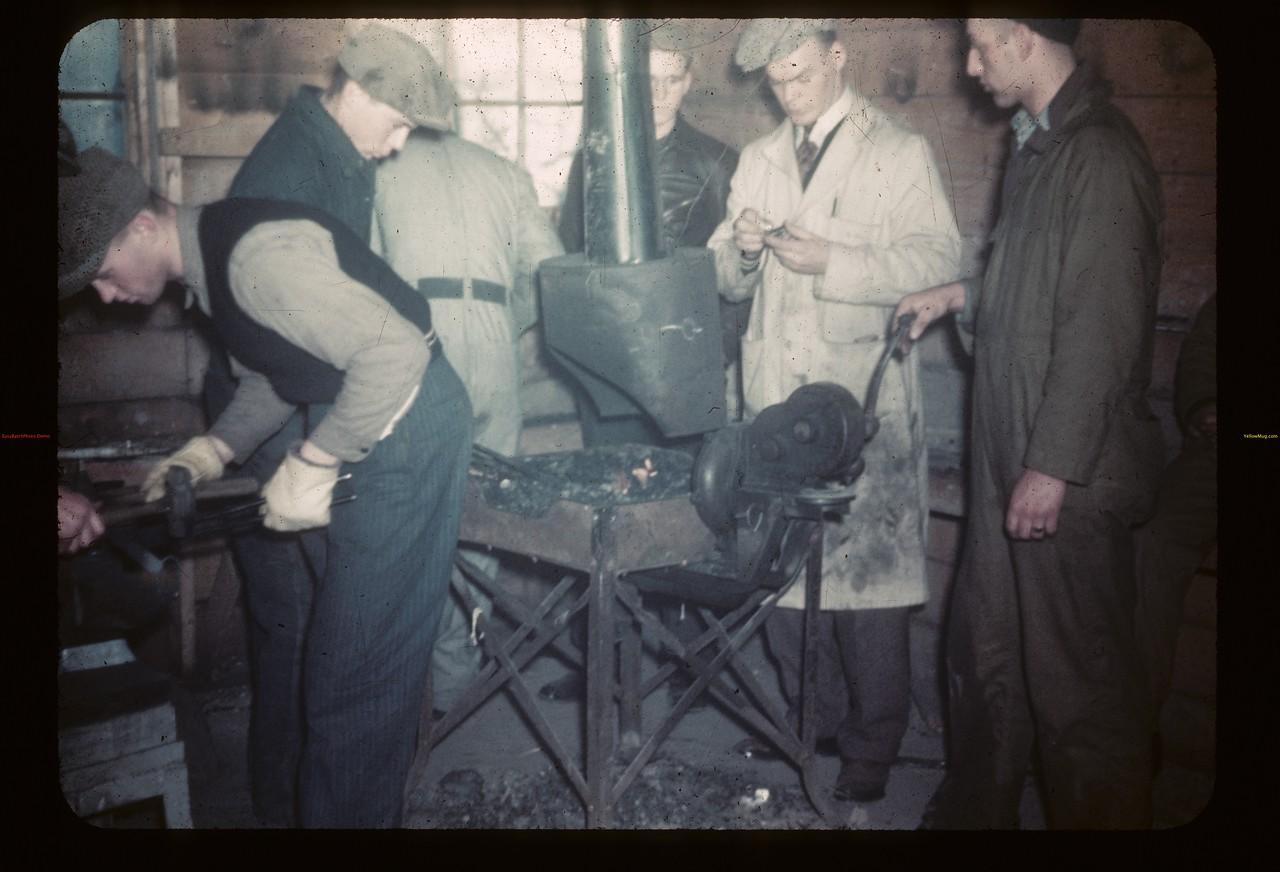 Blacksmithing-Y-T-S. Bruce Wray Instructing. Kenosee.  11/26/1946