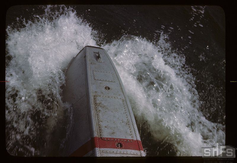 Pontoons cut the waves as we take off.	 Beaver Lake	 06/21/1946