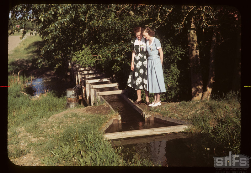 """Irrigation Flume Tempting - Theo Bryce & Marjorie Cook """"Dare we go wading"""" Eastend 06/11/1949"""