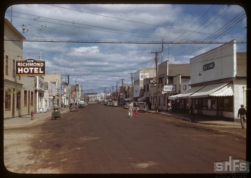 Main Street looking north.  Flin Flon.  06/22/1946