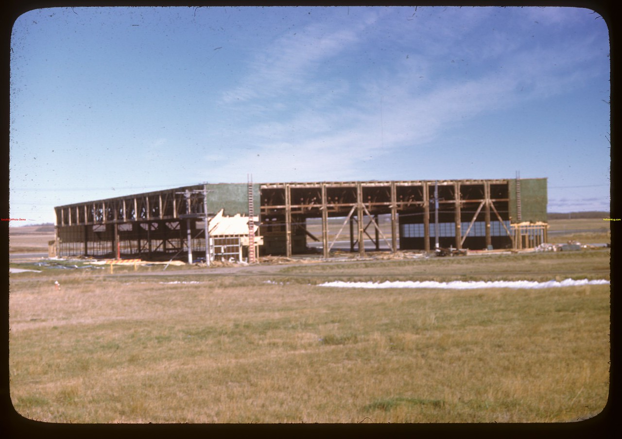 Hanger Coming down - North Battleford airport.  North Battleford.  10/06/1946