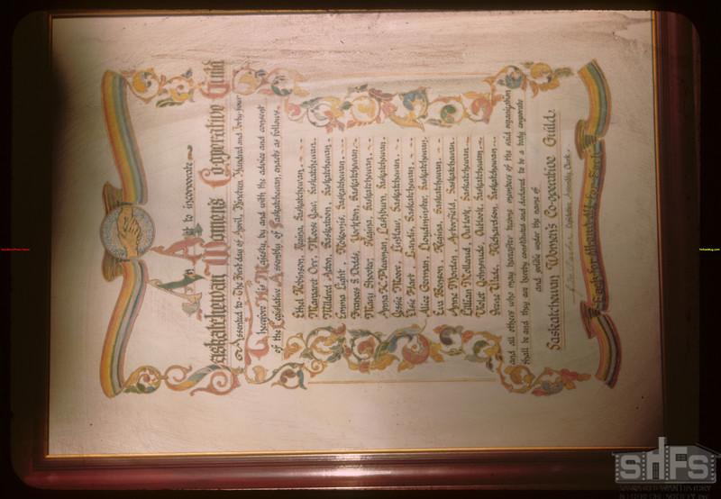 Co-op Women's Guild Charter.  Regina.  01/11/1946