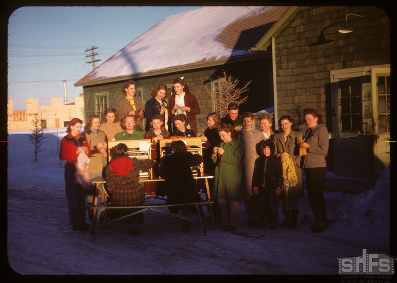 Home economics department at looms - Youth Training School.  North Battleford.  02/02/1948