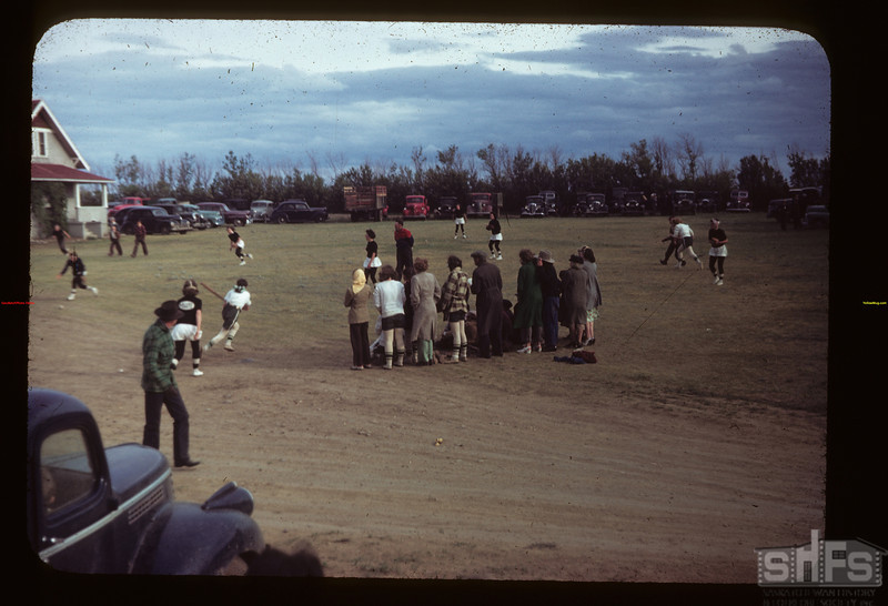 Girls baseball game played at Malcolm McTaggart's Ferland 06/17/1949