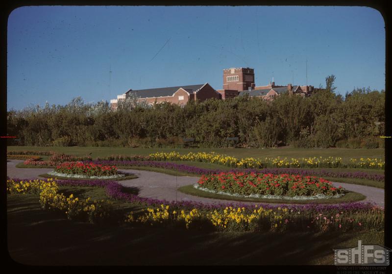 Darke Hall - Regina College over Wascana Gardens.  Regina.  08/30/1946