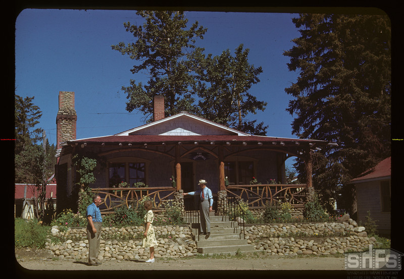 "Mrs. Crofford & Charles Mycroff and Wilf McLead standing outside ""The Residence""	 Cypress Hills	 07/04/1948"