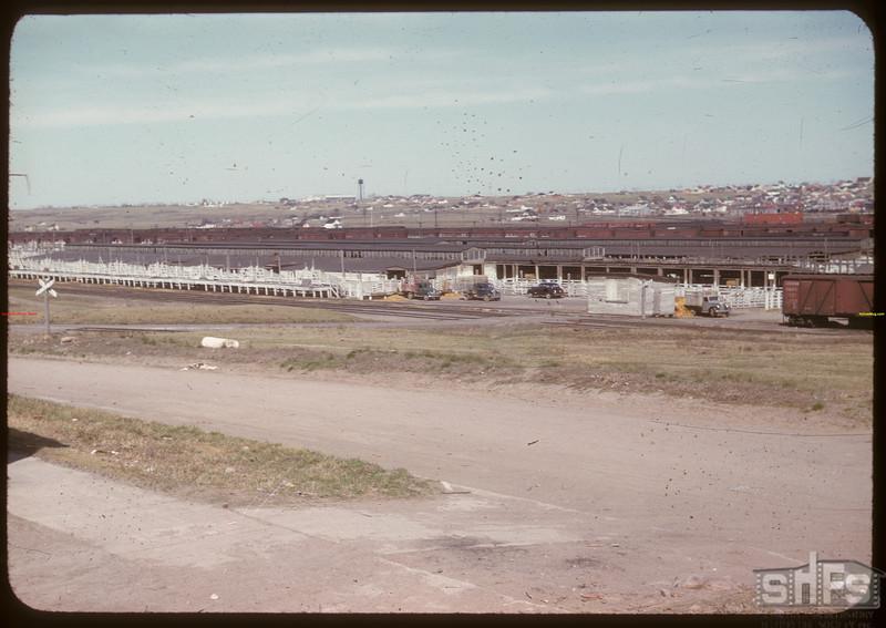 Co-operative stock yards trucks unloading. Moose Jaw 04/28/1947