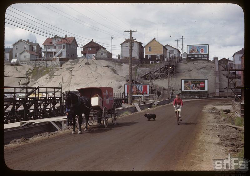 Sidewalk on water works - ball park to left. Flin Flon. 06/22/1946