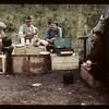 Fish camp diner - Island Lake; Art Anderson of Bluebell; Art Finskey of Meadow Lake; Gust Olson & Bill Leackwell. Goodsoil. 08/18/1945