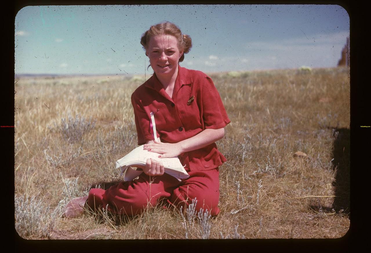 Norma Goldbeck greets visitors at the Gate Matador 07/16/1947