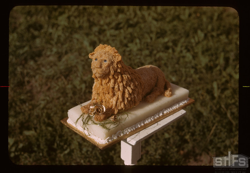 Lion sculptured by Siister  - Indian School.	 Duck Lake	 07/16/1944