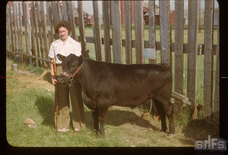 Dorothy Munn and dandy calf. Mankota 06/08/1948