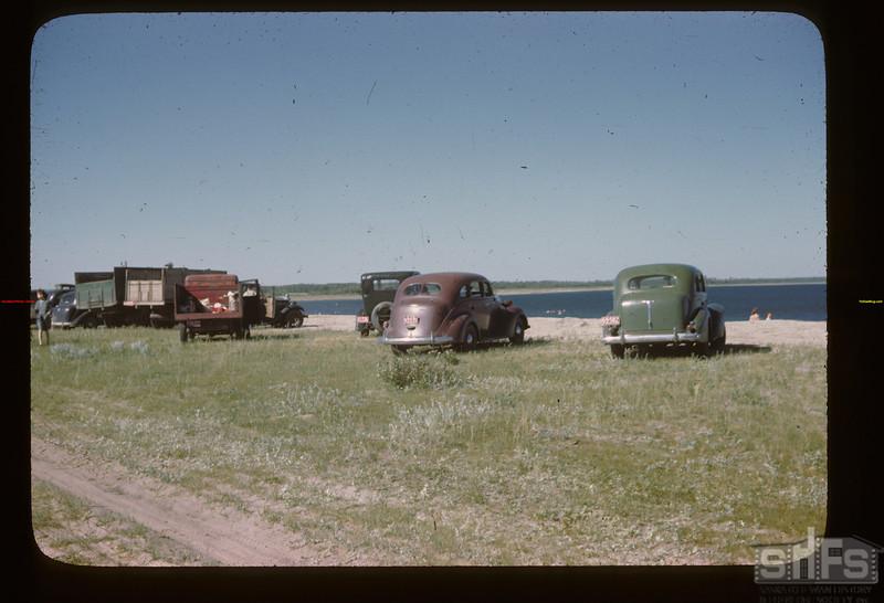 Cars parked at Fishing Lake picnic Fishing Lake 07/21/1946