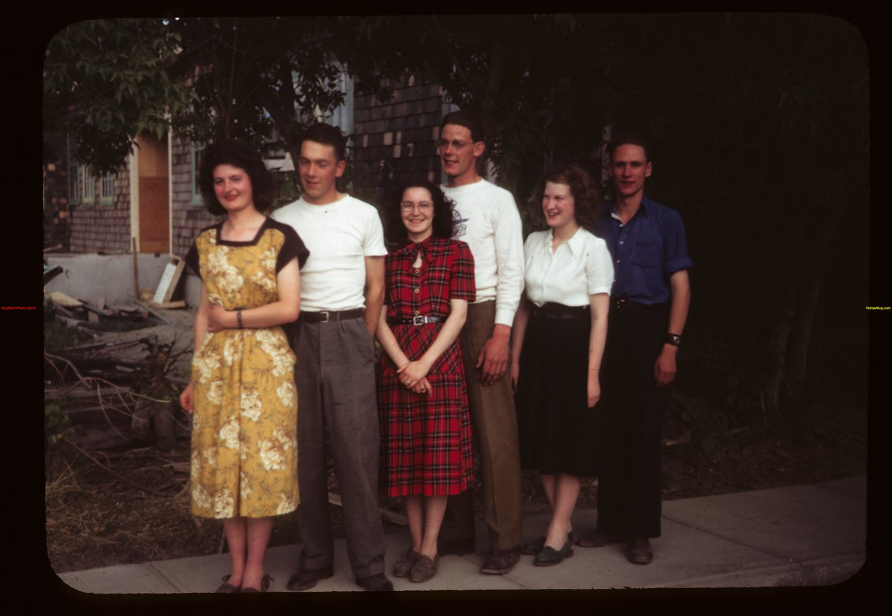 Co-op school students at Eastend Com. Convention - Nancy Willan - James Johnson - Clara Demko - Charlie Fletcher - Clara Hall & Gerald Rabourn.	 Eastend	 06/07/1949