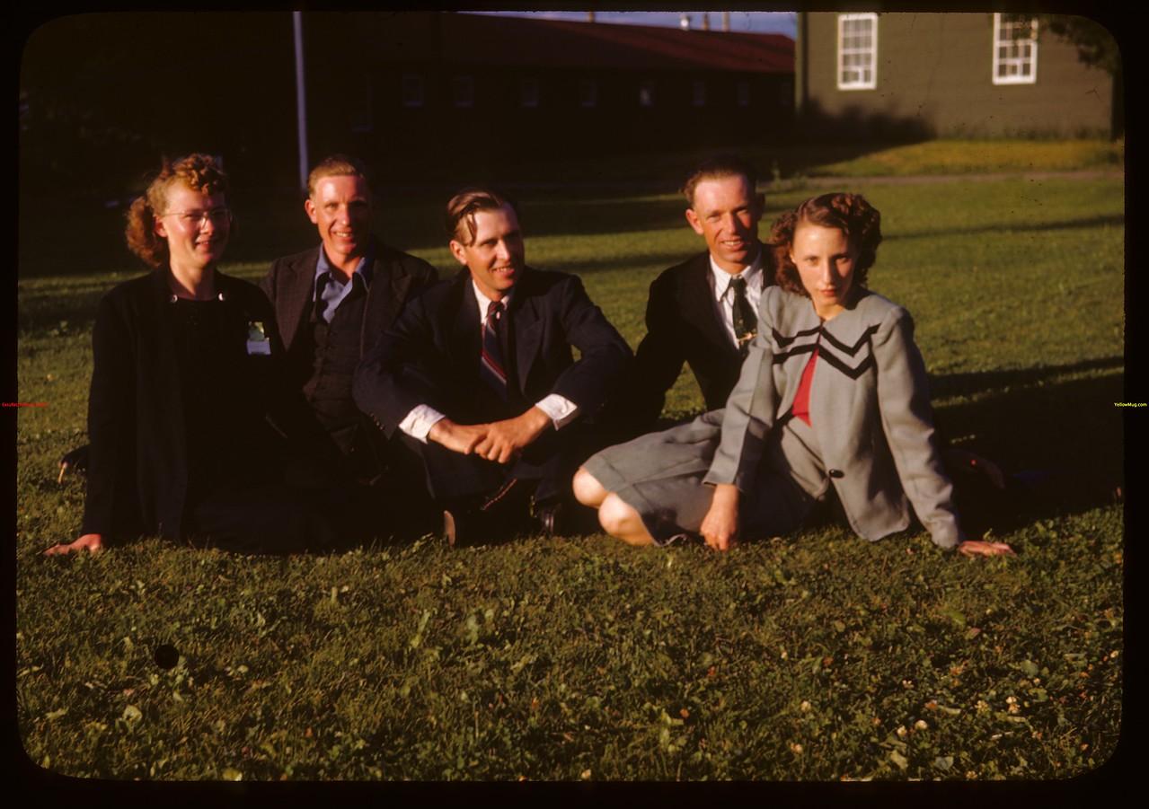 Meadow Lake delegation Sub. 11 - District 16 at PA co-op school.  Noyce Tennis - Dorintosh; Richard Dyck - Compass; Roy Honsberger - Meadow Lake; Herbert Green - River View; Dorothy Clark - Meadow Lake..  Prince Albert.  07/12/1946