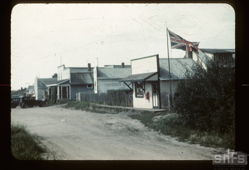 V-J Day in the country towns. Frenchman Butte. 08/14/1945