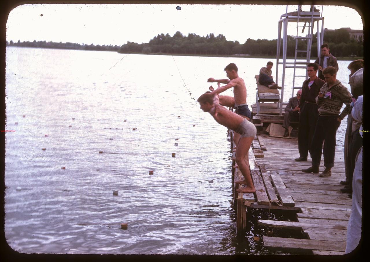 Ready to start the mile - Regina Boat Club swim meet.  Regina.  08/16/1947