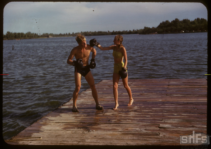 Adele Andrews and Dick McQuaid at the Regina Boat Club.  Regina.  08/03/1947