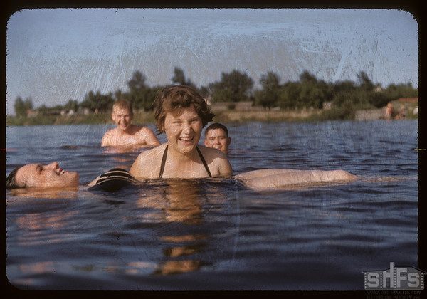 Co-op swimming class - Marge Carleton and Virginia Howlett.  Swift Current.  07/09/1956