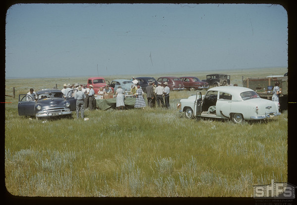 """International Picnic - Common table in """"No Man's Land"""". Divide. 07/12/1953"""